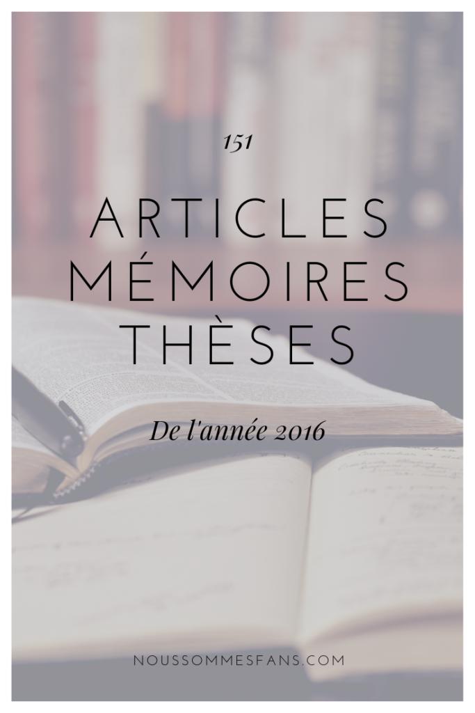 Articles, mémoires et thèses de 2016