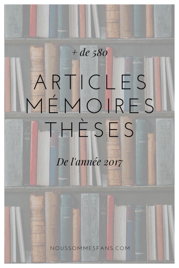 Articles, mémoires et thèses de 2017