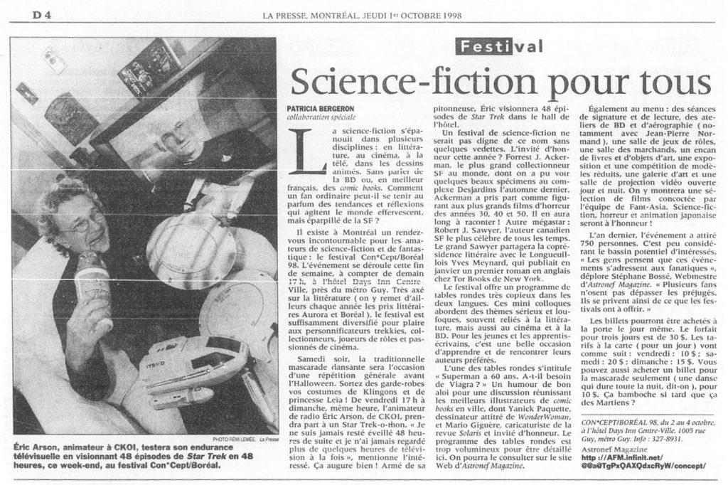 Article de La Presse Con*Cept, 1er octobre 1998