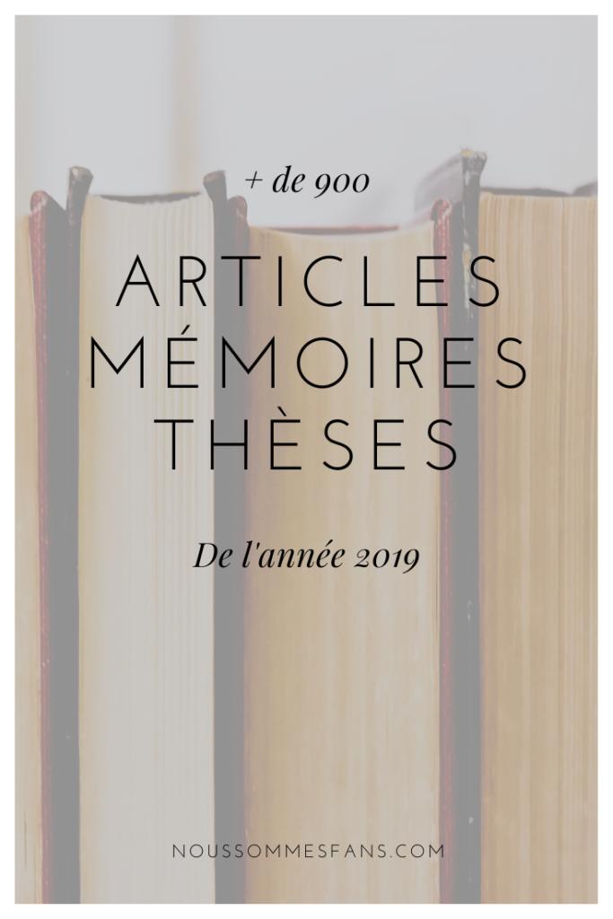 Articles, mémoires et thèses de 2019
