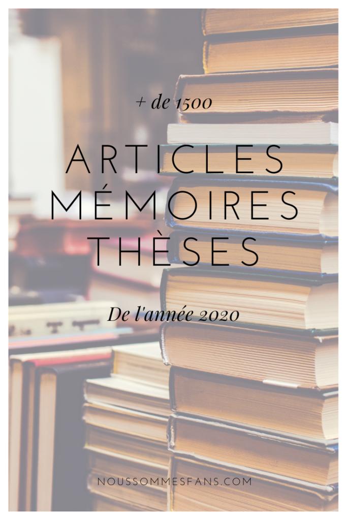 Articles, mémoires et thèses de 2020